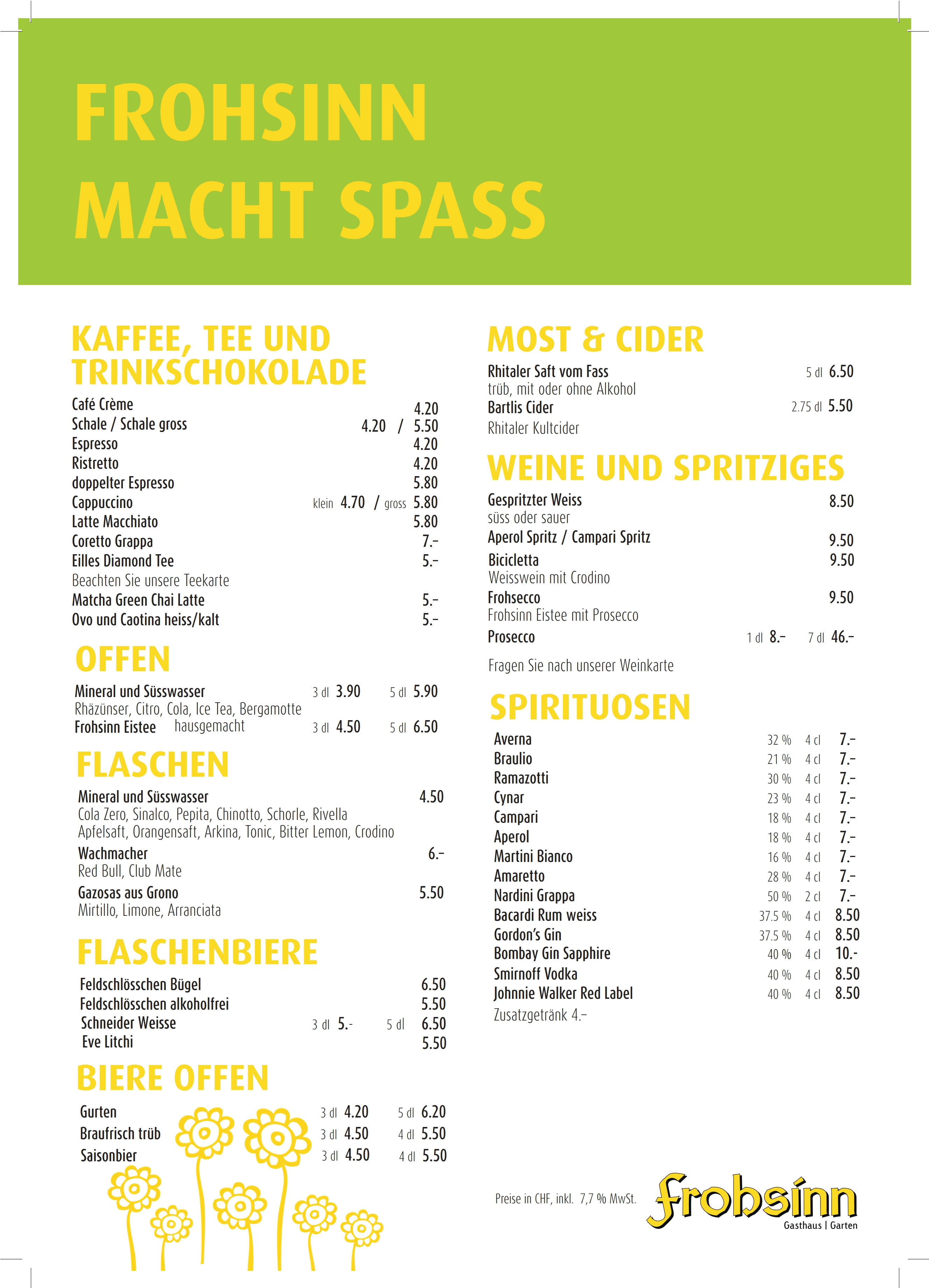 Restaurant Frohsinn Chur – Das Beizli am Churer Bahnhof- Churer ...